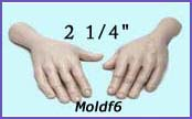 moldf6- 2 1/4 hand mold (front and back) for a 3 inch(7.62 cm) male face.