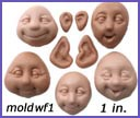 moldwf1- 5 whimsical faces, all in one mold